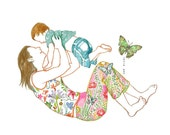 butterfly mother watercolor drawing