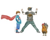 little brothers batman costume with chicken watercolor drawing