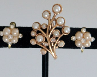 Antique Pearl Brooch and Earrings