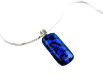 Pendant Necklace with Royal Blue & Black Dichroic Animal Print in Silver Setting