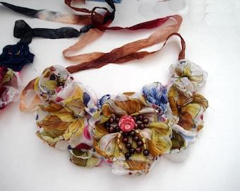 Bib Flower Necklace / Fabric Flower Bib Necklace / Flower Statement Necklace / Textile Jewelry