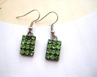 Green earrings, Green Rhinestones earrings, Rectangle earrings, Rectangle Rhinestone earrings