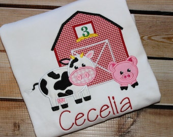 Personalized Farm Birthday Shirt with Barn, Cow and Pig