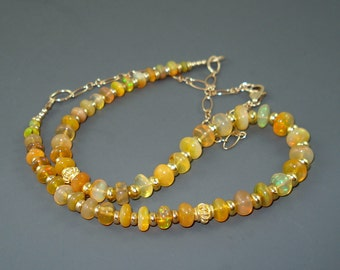 Opal Necklace with Colorful Yellow Based Ethiopian Fire Opals, Gold Filled Beads and Chain and Extreme Fire