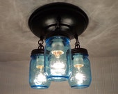 Blue Mason Jar LIGHT FIXTURE New PINT Trio