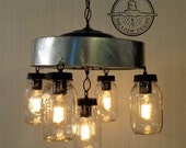 Mason Jar CHANDELIER Light Fixture with Chicken Wire