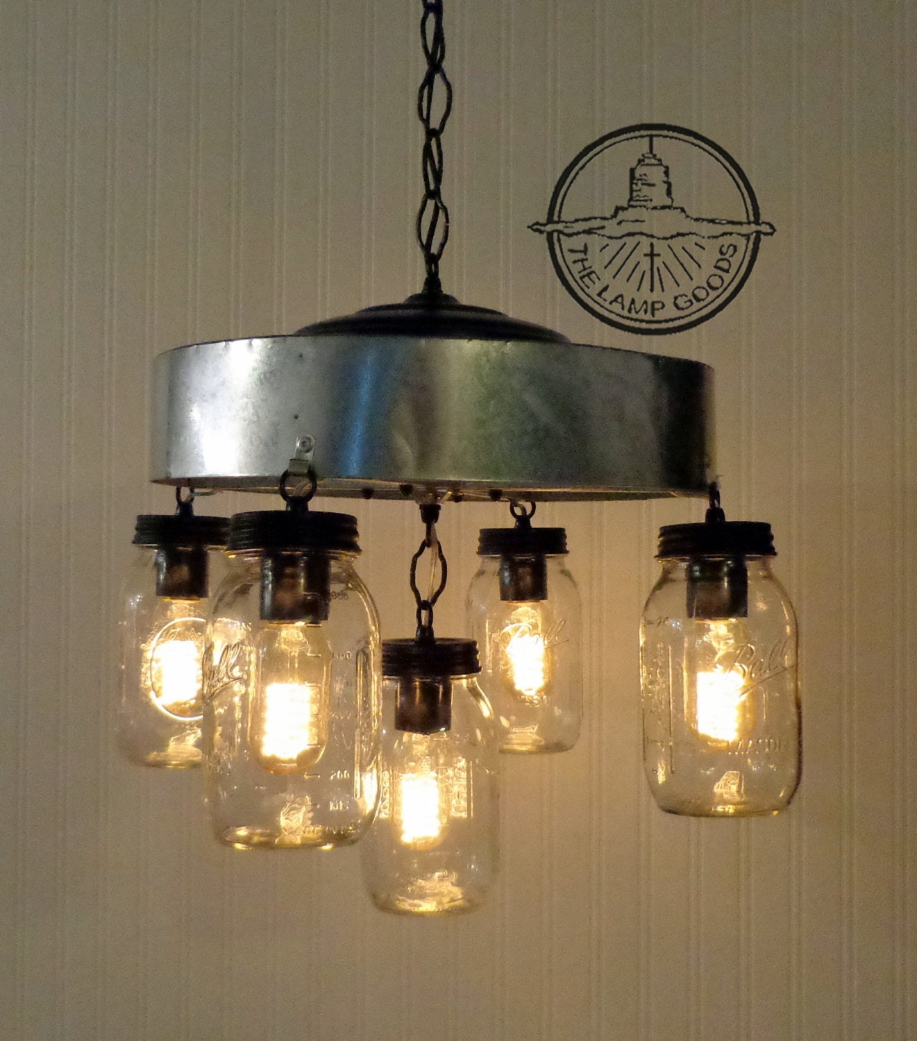 mason jar chandelier light fixture with farmhouse by lampgoods. Black Bedroom Furniture Sets. Home Design Ideas
