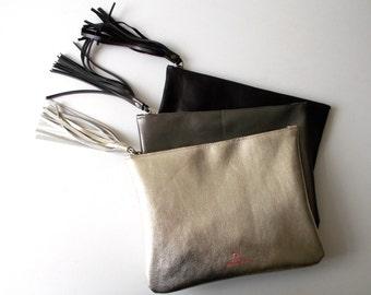Light gold leather clutch, women purse
