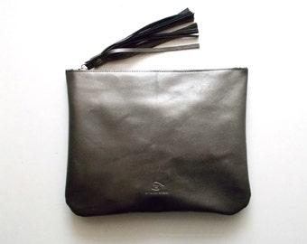Dark silver leather clutch, women purse