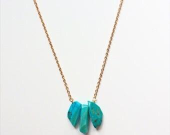 Genuine Turquoise Three Stone Necklace