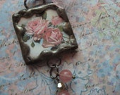 ROSES -  Soldered Glass Art Pendant, Pink Roses, Rose Quartz, Necklace Pendant, Jewelry