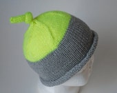 LABOR DAY SALE Bedford- Hand knit merino wool knot hat 0-6 month toddler knit baby toque grey neon yellow