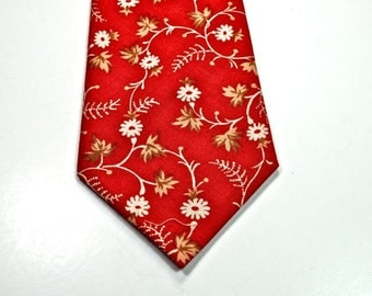 Rust Floral Necktie Fall Necktie Mens Neckties Custom Neckties Cotton Neckties Floral Neckties
