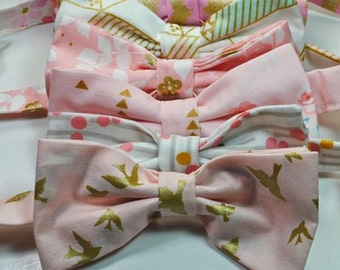 Blush Bow Ties Blush Neckties Wedding Bow Ties Pink Bow Ties Blush and Gold Bow Ties Custom Bow Ties Freestyle Bow Ties