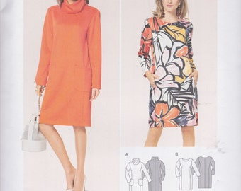 Burda Style Pattern 6691 Easy Pullover Shift Dress with Princess Seams, Long Sleeves, Neckline, Hemline & Pocket Variations Misses' 10 - 22