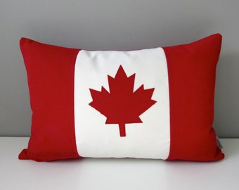 "Canada Flag Pillow Cover, Canadian Flag Outdoor Pillow Cover, Maple Leaf, Decorative Throw Pillow Case, Red White Canuck 12""x18"" Mazizmuse"