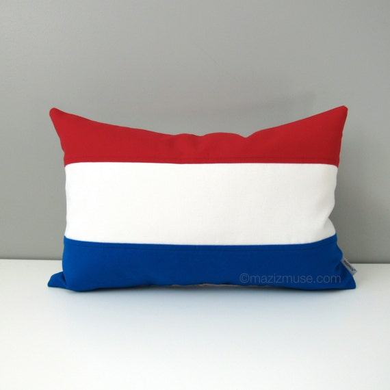 "Netherlands Flag Pillow Cover, Dutch Holland, Red White Blue Outdoor Throw Pillow, Housewarming Gift, Sunbrella Cushion Cover 12""x18"""
