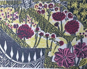 Dahlia Walk Linocut Print Original