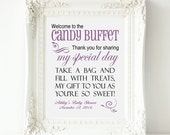 """Welcome to the Candy Bar Buffet Party 8"""" x 10"""" Personalized Sign - Printable file - Baby Shower, Birthday, Bridal Shower"""