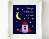 I Love You To The Moon and Back Wall Art - PRINTABLE Instant Download, Children's Bedroom Print, Nursery Decor, Moon Stars Wall Art, 3 Sizes