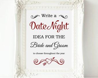 Date Night Sign, Date Night Ideas Wedding Sign, Printable Date Night Jar Sign, Date Ideas for Bride and Groom, Wedding Date Ideas
