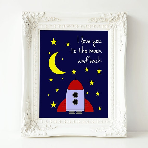 Love You To The Moon And Back Wall Art Printable By