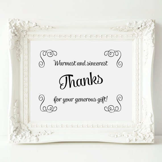 Thank You Sign For Wedding Gift Table : Wedding Gift Table Sign, Swirls Wedding Gift Thank You Sign, Printable ...