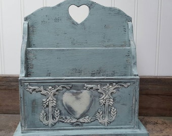 Shabby chic Mint letter box organizer