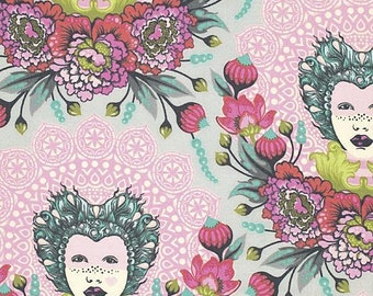 Elizabeth Fabric by Tula Pink Circus Mardi Gras Cameo Beautiful Face with Floral Flowers on Tart Pink