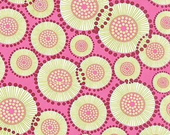 For You Fabric by Moda Poppy Polka Dot Dots Floral Flowers on Raspberry Pink