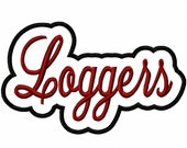 Loggers Script with a Shadow Embroidery Machine Applique Design 4393