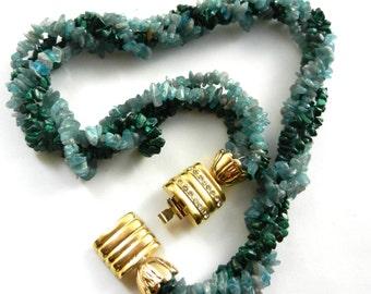 Lovely multi strand torsate natural stones necklace - 1960s  genuine Malachite and genuine jade italian necklace -- Art-979/3-