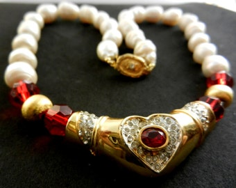 Amazing  large genuine baroque pearls red ruby heart necklace - very cool necklace - 1970s vintage italian couture - Art.972/3 -