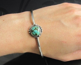 sterling silver turquoise bangle - silver bangle - chunky bangle - turquoise jewelry