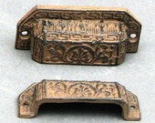 8 Drawer Pulls Cast Iron Bin Pulls Ornate Distressed Cottage Chic 3-1/4 Inch  Centers