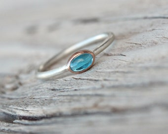 Tiny Neon Apatite Rose Gold Silver Ring Boho Blue Sky Delicate Gemstone Ring Stackable Bright Colored Cabochon Gem Dainty Band - Himmelchen
