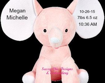 Personalized Cubbie/Birth Announcement Cubbie/Elephant Cubbie/Pink Elephant/Personalized Stuffed Animal/Blue Elephant/Birth Announcement