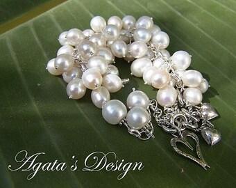 White Freshwater Pearls Sterling Silver Bracelet