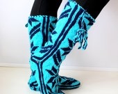 Christmas Gift, Winter Booties, Long Slippers, Cozy, Wool Socks, Mukluk, Long Slippers, Leg Warmers