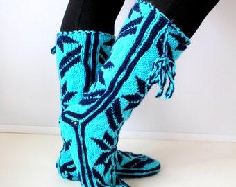 Christmas Gift, Winter Booties, Long Slippers, Cozy, Wool Socks, Mukluk, Long Slippers, Leg Warmers