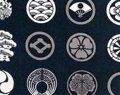 Japanese Tenugui Towel Cotton Fabric, Japanese Family Crest, Black, Samurai, Hand Dyed Fabric, Traditional Art Fabric, Art Wall, Gift, h091
