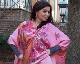 Hand Painted Silk Blouse Women Shirt Kaftan Kimono Tunic Caftan Custom Order
