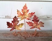 Fall Leaves Decor with Storage Gift Box - Autumn Decor - Realistic Fall Leaves - Fall Leaves Mantle Decor - Maple Leaf Decor - Set of Three