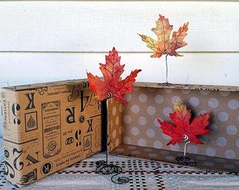 Fall Leaves Decor - Fall Leaf Trio - Autumn Decor - Realistic Fall Leaves - Fall Leaves Mantle Decor - Maple Leaf Decor - Set of Three