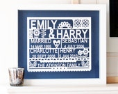 Personalized Family Tree Paper cut Wall Art, gift for family, gift for dad, personalized gift for mum, personalised mothers day present