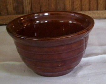 Antique Brown Stoneware Mixing Bowl, Banded 5 Inches wide x 2 1/2 tall Very Small bowl, primitive bowl, Kitchen decor, Brown Glaze Bowl