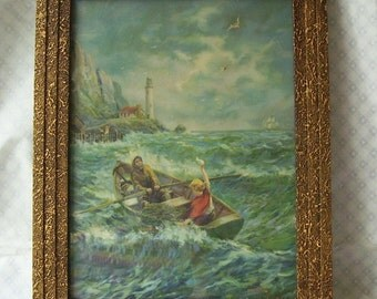 F. R. Harper Rowboat With Fisherman and Boy Waving Goodby, Light House, Sail Boat in Background, Brass Colored Frame, Signed Copy Re-Print