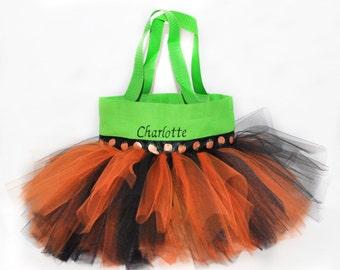 Trick or Treat Bag, Tutu Bag, Pumpkin Tutu Halloween Bag.  Bag With Name Embroidered on the Bag, Personalized Dance Bag, Halloween Basket