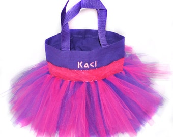 Dance Bag, Pink With Glitter Ribbon With FREE Monogram Name Embroidered on the Bag, Personalized Girl Dance Bag, Fairy Bag, Ballet Bag