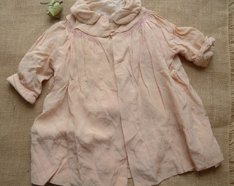 Antique Precious Pink Baby Girl Silk Handmade Jacket French Country Farmhouse Nursery Decor Old Doll Clothes Ambient Atelier Antique Dealer